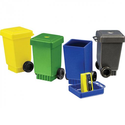 Taille crayon en forme de container de tri en plastiques recyclés ARBRE A BULLES