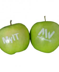 Pomme publicitaire marquée à l'encre alimentaire