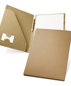 Conférencier A4 en carton et papier recyclé avec stylobille