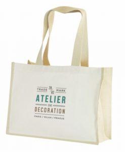 Grand sac shopping publicitaire écologique en jute et coton bio certifié Fairtrade