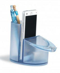 Pot de bureau en plastiques recyclés pour stylos, crayons et téléphone